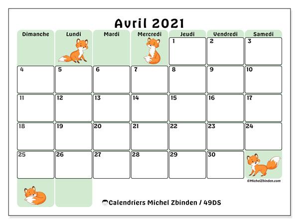 "Calendrier Mensuel Avril 2021 Calendrier ""49DS"" avril 2021 à imprimer   Michel Zbinden FR"