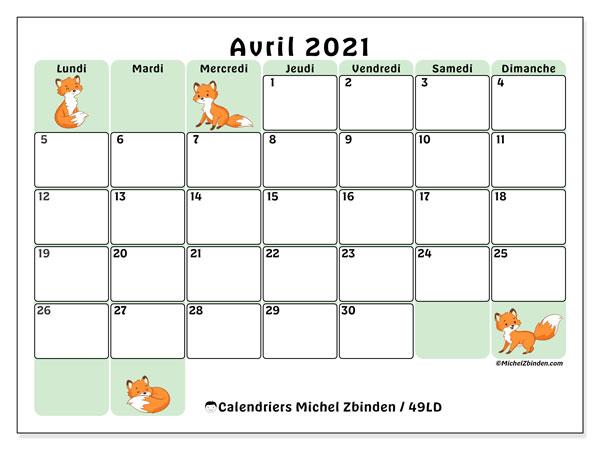 """Calendrier """"49LD"""" avril 2021 à imprimer   Michel Zbinden FR"""