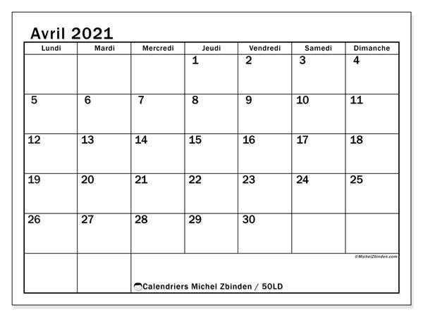 Calendrier avril 2021, 50LD. Calendrier à imprimer gratuit.