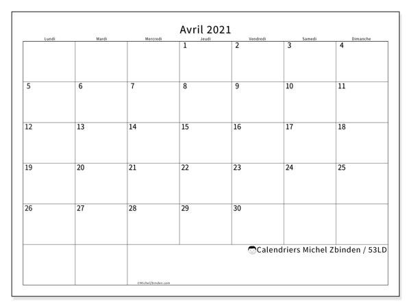 Calendrier avril 2021, 53LD. Calendrier à imprimer gratuit.