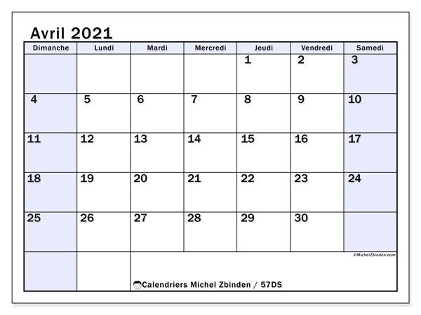Calendrier avril 2021, 57DS. Calendrier imprimable gratuit.