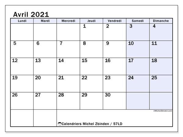 "Calendrier Avril 2021 à Imprimer Gratuit Calendrier ""57LD"" avril 2021 à imprimer   Michel Zbinden FR"