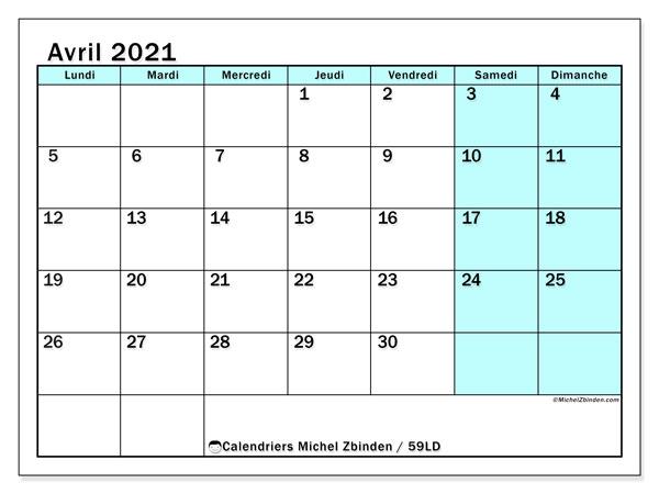Calendrier avril 2021, 59LD. Calendrier mensuel à imprimer gratuit.