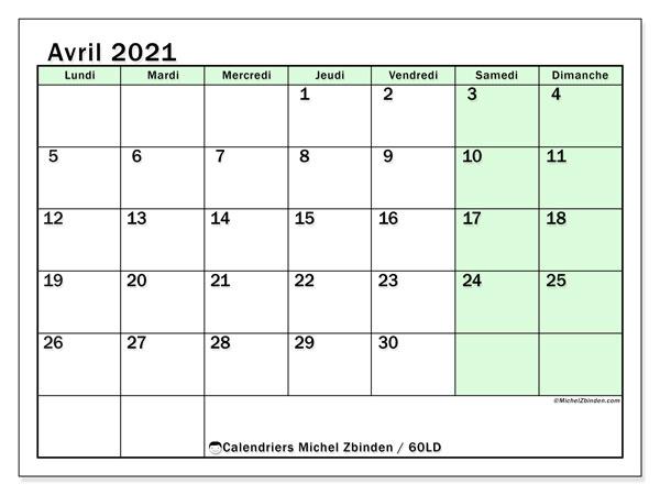 Calendrier avril 2021, 60LD. Calendrier imprimable gratuit.