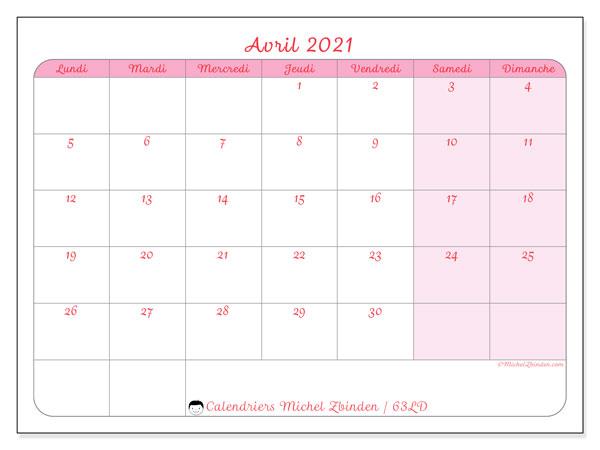 Calendrier avril 2021, 63LD. Organisateur à imprimer gratuit.