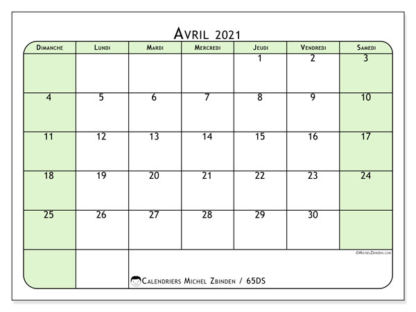 Calendrier avril 2021, 65DS. Calendrier gratuit à imprimer.