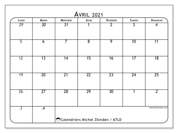 Calendrier avril 2021, 67LD. Calendrier pour le mois à imprimer gratuit.