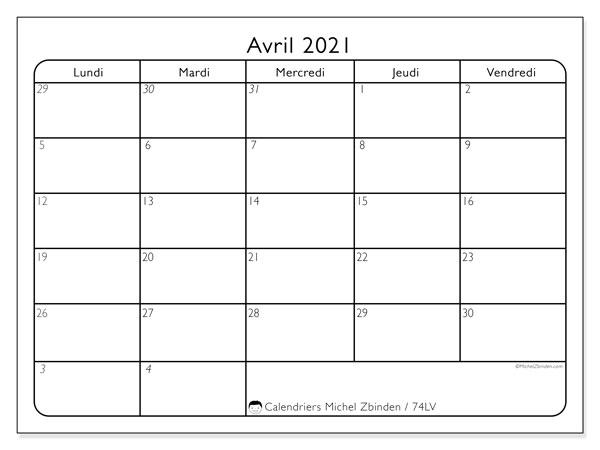 Calendrier avril 2021, 74DS. Calendrier gratuit à imprimer.