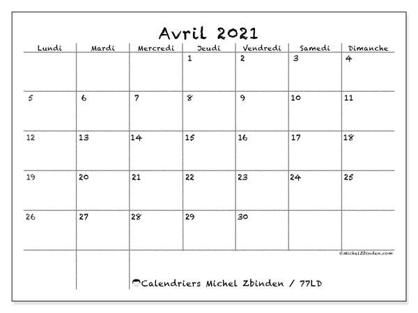 Calendrier avril 2021, 77LD. Calendrier à imprimer gratuit.