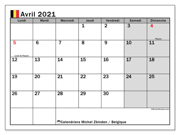Calendrier avril 2021, avec les jours fériés de la Belgique. Calendrier à imprimer gratuit avec jours fériés.