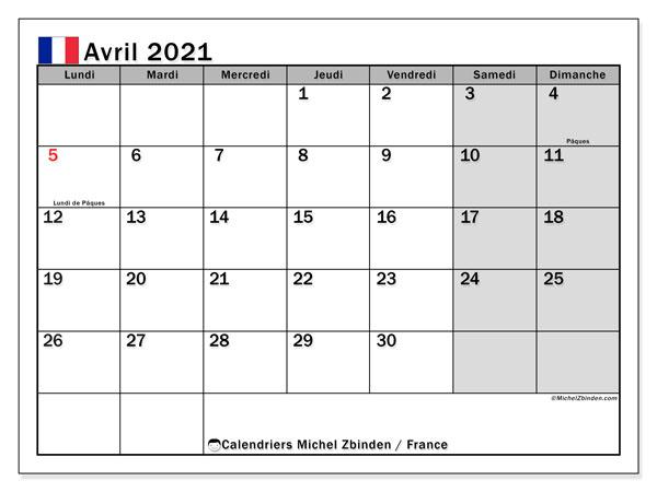 Calendrier avril 2021, avec les jours fériés de la France. Calendrier Fêtes et jours fériés à imprimer gratuit.