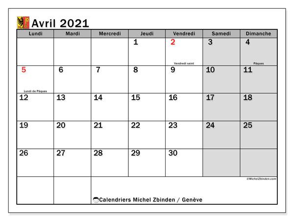 Calendrier avril 2021, avec les jours fériés du Canton de Genève. Calendrier à imprimer gratuit avec jours fériés.