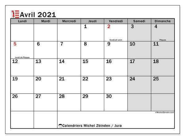 Calendrier avril 2021, avec les jours fériés du Canton du Jura. Calendrier Fêtes et jours fériés à imprimer gratuit.