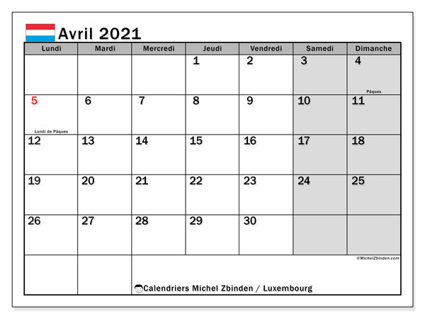 Calendrier à imprimer, avril 2021, Luxembourg