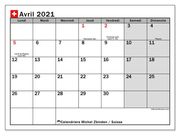 Calendrier avril 2021, avec les jours fériés de la Suisse. Calendrier Fêtes et jours fériés à imprimer gratuit.