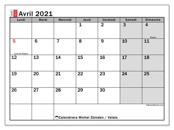 Calendrier avril 2021, avec les jours fériés du Canton du Valais. Calendrier à imprimer gratuit avec jours fériés.