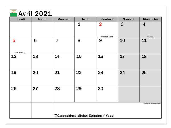 "Calendrier ""Canton de Vaud"" avril 2021 à imprimer   Michel Zbinden FR"