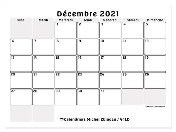"""Calendrier """"44LD"""" décembre 2021 à imprimer   Michel Zbinden FR"""