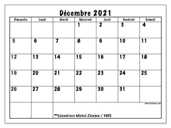 """Calendrier Décembre 2021 à Imprimer Calendrier """"48DS"""" décembre 2021 à imprimer   Michel Zbinden FR"""