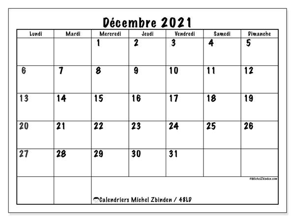 """Calendrier """"48LD"""" décembre 2021 à imprimer   Michel Zbinden FR"""