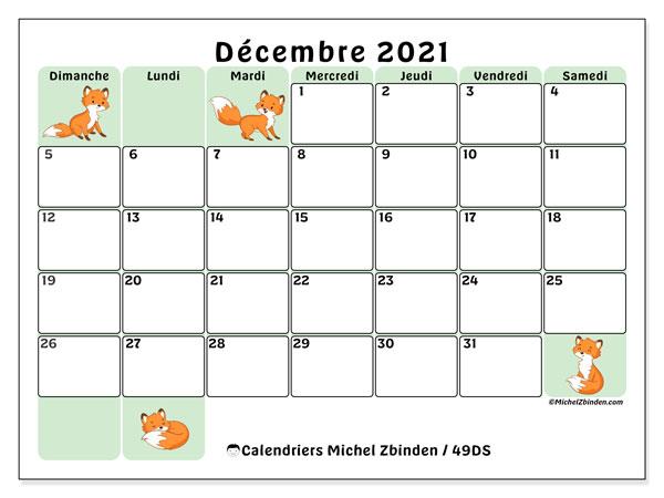 """Calendrier """"49DS"""" décembre 2021 à imprimer   Michel Zbinden FR"""