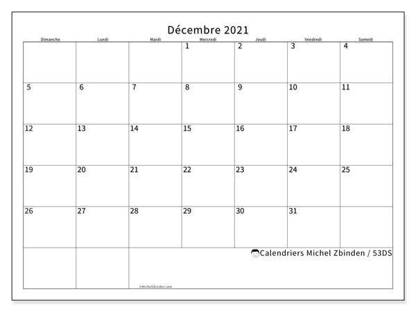 """Calendrier """"53DS"""" décembre 2021 à imprimer   Michel Zbinden FR"""