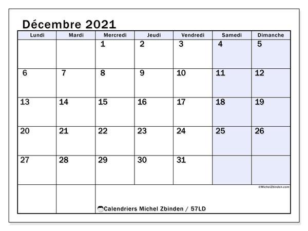 Calendrier décembre 2021, 57LD. Calendrier pour le mois à imprimer gratuit.