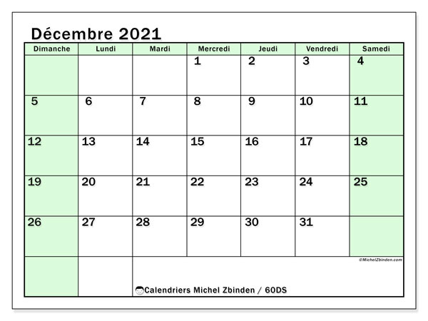 """Calendrier """"60DS"""" décembre 2021 à imprimer   Michel Zbinden FR"""