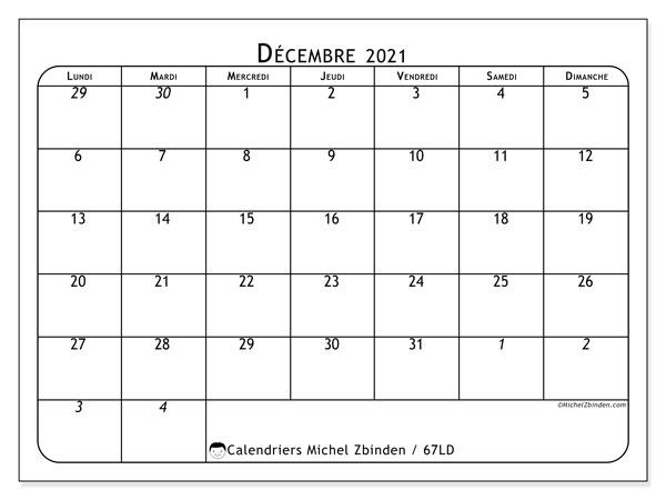 Calendrier décembre 2021, 67LD. Calendrier imprimable gratuit.