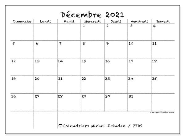 """Calendrier """"77DS"""" décembre 2021 à imprimer   Michel Zbinden FR"""