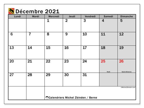 Calendrier décembre 2021, avec les jours fériés du Canton de Berne. Calendrier Fêtes et jours fériés à imprimer gratuit.