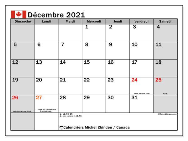 """Calendrier """"Canada"""" décembre 2021 à imprimer   Michel Zbinden FR"""