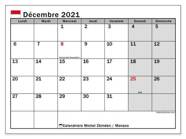Calendrier Décembre 2021 Calendrier décembre 2021   Monaco   Michel Zbinden FR