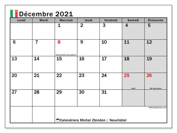 Calendrier décembre 2021, avec les jours fériés du Canton de Neuchâtel. Calendrier à imprimer gratuit avec jours fériés.