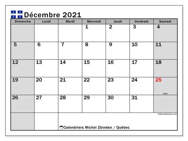 """Calendrier """"Québec"""" décembre 2021 à imprimer   Michel Zbinden FR"""