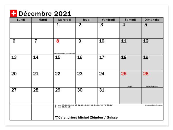 Calendrier décembre 2021, avec les jours fériés de la Suisse. Calendrier Fêtes et jours fériés à imprimer gratuit.