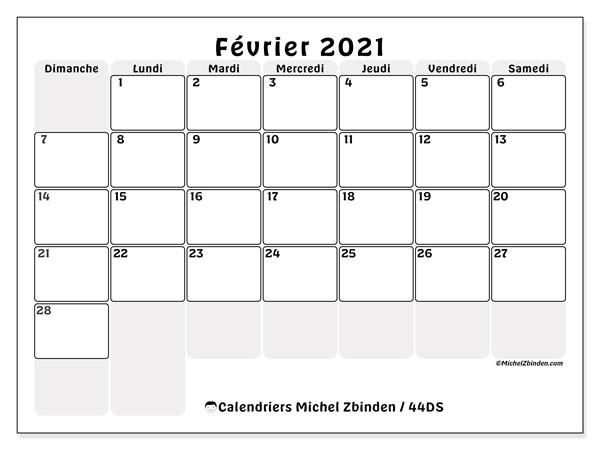 Calendrier février 2021, 44DS. Calendrier pour le mois à imprimer gratuit.