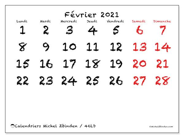 Calendrier février 2021, 46LD. Organisateur à imprimer gratuit.