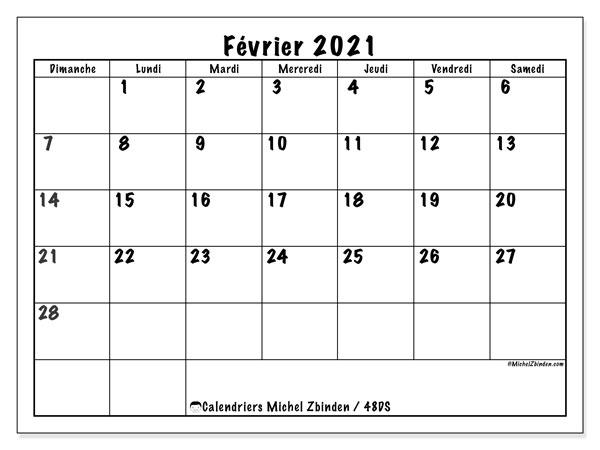 Calendrier février 2021, 48DS. Organisateur à imprimer gratuit.