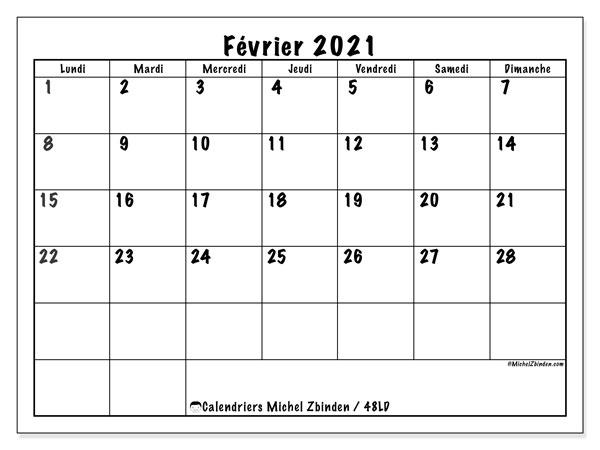 "Calendrier à Imprimer Février 2021 Calendrier ""48LD"" février 2021 à imprimer   Michel Zbinden FR"