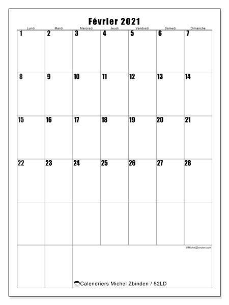 Calendrier février 2021, 52LD. Calendrier à imprimer gratuit.