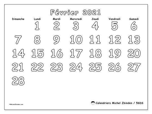 Calendrier février 2021, 56DS. Calendrier mensuel à imprimer gratuit.