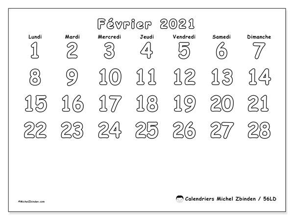 Calendrier février 2021, 56LD. Calendrier à imprimer gratuit.