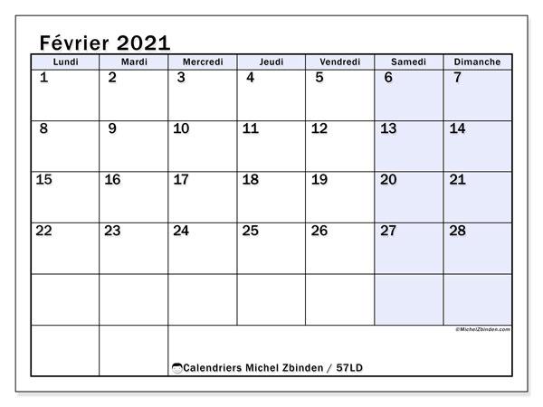 Calendrier février 2021, 57LD. Planificateur à imprimer gratuit.