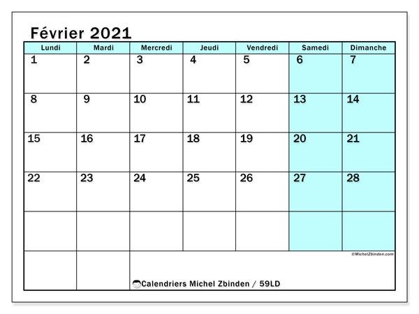 Calendrier février 2021, 59LD. Calendrier imprimable gratuit.