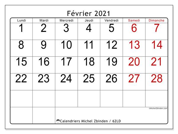 Calendrier février 2021, 62LD. Organisateur à imprimer gratuit.
