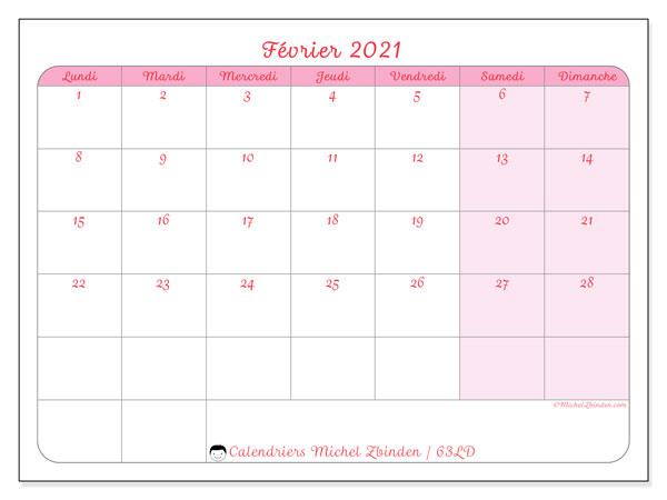 """Calendrier Février 2021 à Imprimer Gratuit Calendrier """"63LD"""" février 2021 à imprimer   Michel Zbinden FR"""