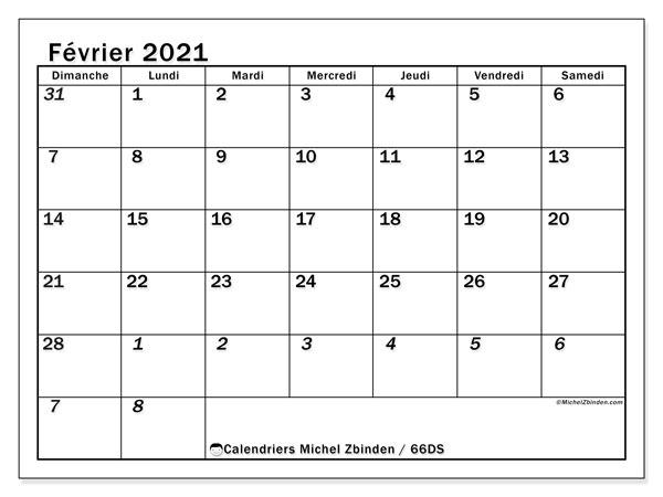 Calendrier février 2021, 66DS. Calendrier gratuit à imprimer.