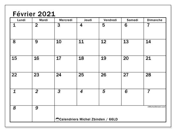 Calendrier février 2021, 66LD. Calendrier pour le mois à imprimer gratuit.