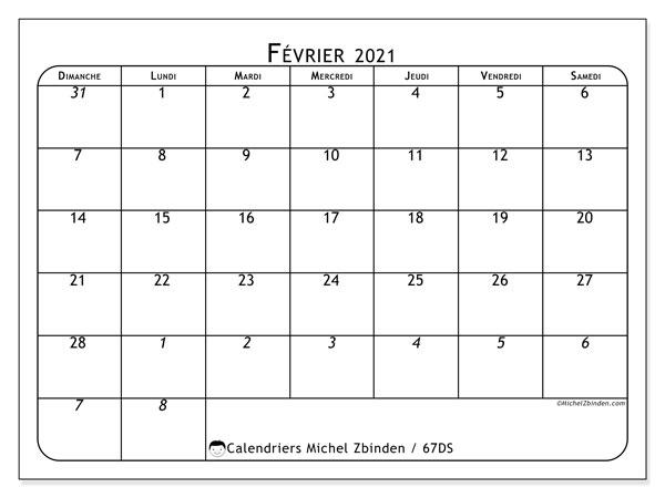 Calendrier février 2021, 67DS. Calendrier mensuel à imprimer gratuit.